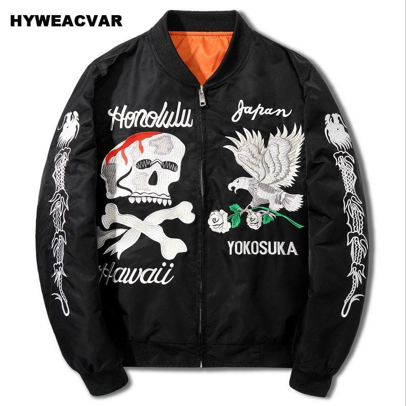 Blouson aviateur Hyweacvar Kanye West homme Ma1 épaissir les manteaux fairy suka veste crâne d'aigle Streetwear taille américaine