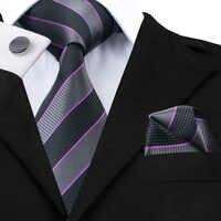 SN-591 noir Dimgray Darkviolet rayé cravate Hanky boutons de manchette ensembles hommes 100% soie cravates pour hommes formelle mariage fête marié