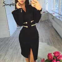 Simplee Sexy spring bandage dress women Elegant celebrity evening party dress Long sleeve black bodycon office lady vestidos
