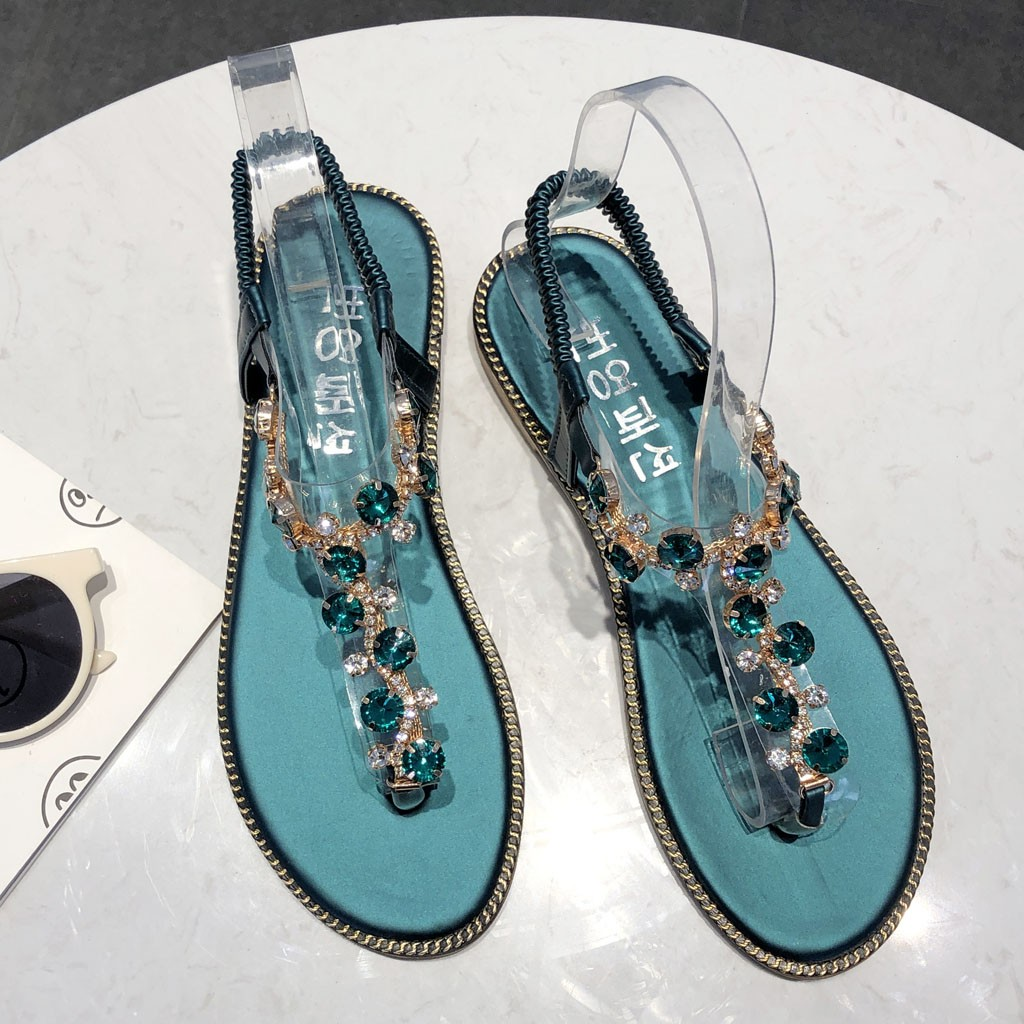 6393e7b665 US $6.09 34% OFF|Fashion Women Thong Sandals T Type Open Toe Rhinestone  Flat Bottom Roman Sandals 2019 Summer Flip Flop Shoes Sandalia Haussures-in  ...