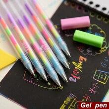 60 pçs/lote Rainbow color caneta caneta gel canetas de Fluorescência cor em 1 6 Scrapbooking Desenho Pintura material Escolar Papelaria A6555