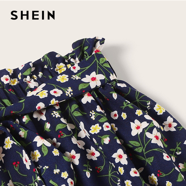SHEIN Plus Size Navy Ditsy Floral Print Paperbag Waist Belted Skirt 2019 Women Summer Boho A Line Flared Pleated Mini Skirts 4