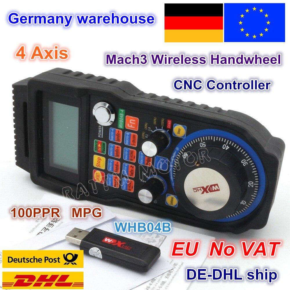 EU free shipping 4 Axis Wireless Mach3 MPG Pendant mpg lathe Handwheel for CNC Mac.3, 4 Axis / 6 Axis Wholesale Price WHB04B