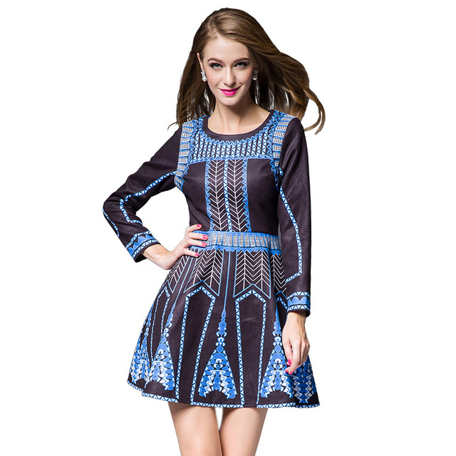 by Megyn designer dresses runway 2017 high quality long sleeve print tunic casual mini dress party dresses vestidos for female
