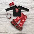 girls Christmas new design X-mas outfits baby kidswear reindeer leopard clothes red/white dot ruffle pant with headband