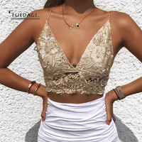 Fuedage 2017 New Summer Sexy Women Crop Tops Embroidery Sleeveless Camis Ladies Lace Spaghetti Strap Hollow