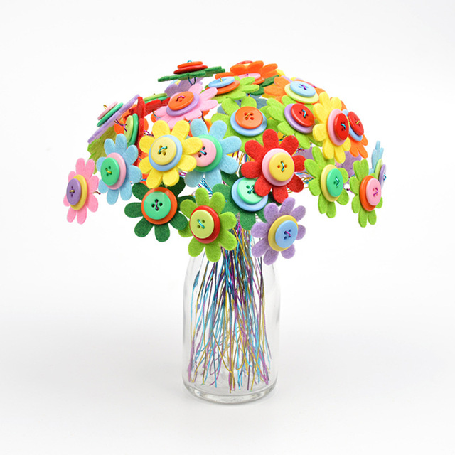 Diy Button Bouquet Handmade Buttons Flower Child Handicrafts
