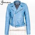Ropa de colores 2016 Nuevas Mujeres Chaquetas de Cuero de Imitación Señora Bomber Motocicleta Fresco ropa de Abrigo abrigo con Cinturón CA573