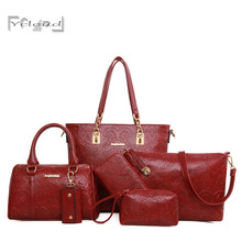 European and American retro composite Bag classic ladies Embossing handbags 6 sets shoulder women messenger high quality leather