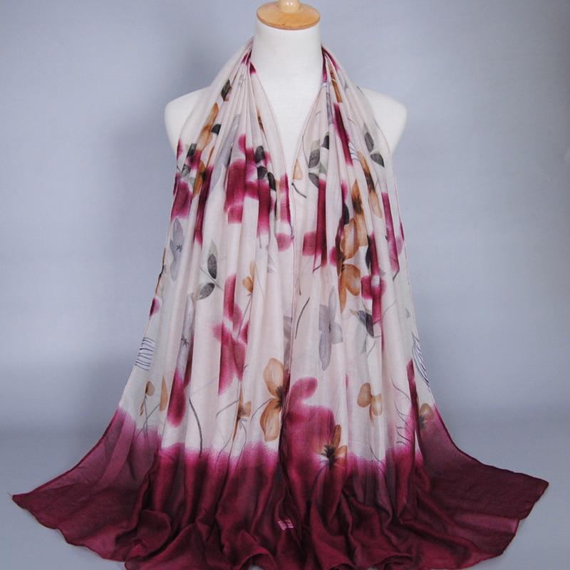 aac0a60a5816 Gros dames printe feuille floral viscose écharpe châle hijab musulman  lavage peinture long wrap bandeau foulards écharpe 10 pcs lot