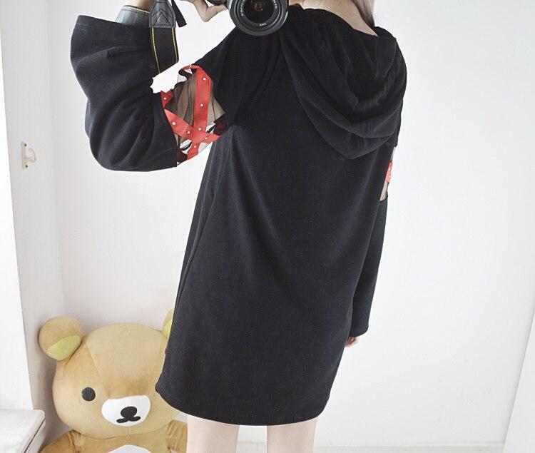 2019 corée femmes Lolita Long Hoodies japonais Harajuku mode ECG graphique femme blanc sweat avec coeur Kawaii gothique hauts - 4