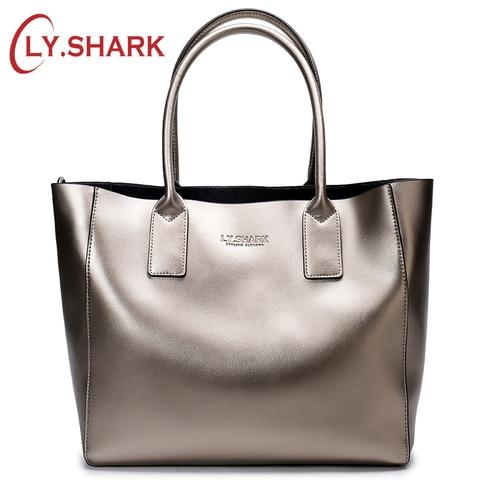 Senhoras de Couro Bolsa de Ombro Shark Bolsa Feminina Genuíno Mensageiro Grande Famosa Marca Designer Moda Tote Ly.