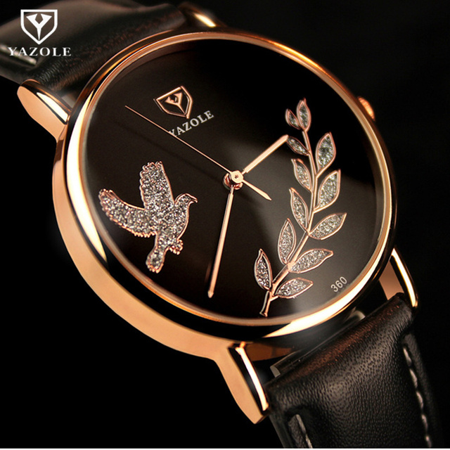 YAZOLE Brand Rose Gold Watch Luxury Crystal Quartz Watch Women Ladies Bird Wrist