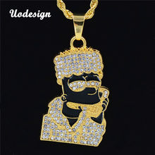 Uodesign Hip Hop Cartoon Head Necklace Pendant Men Jewelry Wholesale namel Head Gold Color Necklace with Hiphop Chain Pendant(China)