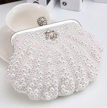 2015 fashion pearl with rhinestone small lady's evening bag women clutch bag shell shape party bag bride wedding bag