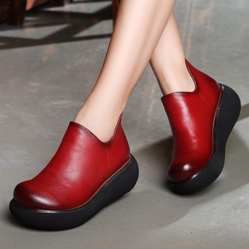 Mujeres Rojo Alto A De Mano Zapatos 6 Las 2019 Primavera Tacón Negro Hecho rojo Retro Cuero Cm Perezosos Slip Carrete On Cuña FYqzYwdx4