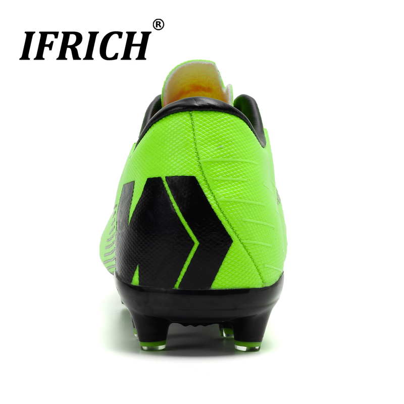 Hot Sale Soccer Shoes Boys Black Green Football Shoes Women Non Slip Sneakers Sport Children Long Spike Outdoor Sneakers in Soccer Shoes from Sports Entertainment