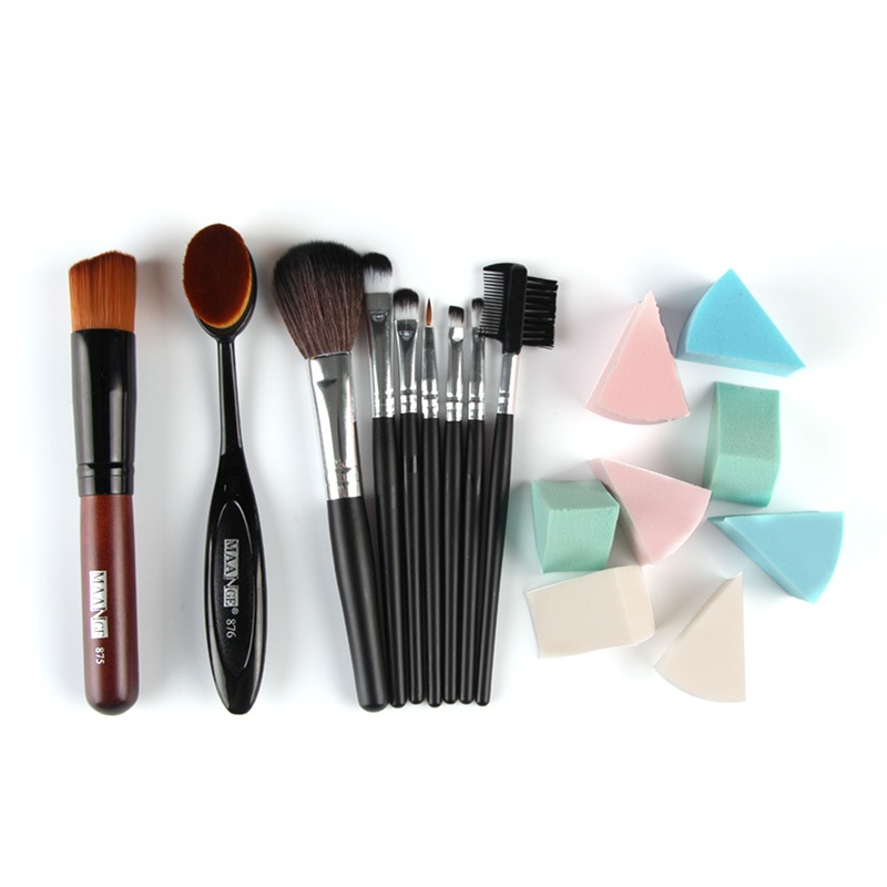 10pcs Makeup Brushes Tools Set Wood Nylon Hair Toothbrush Foundation Blush Powder Brush Sponge Puff PU Leather Case Make Up Kit msq 15pcs professional makeup brushes set foundation fiber goat hair make up brush kit with pu leather case makeup beauty tool