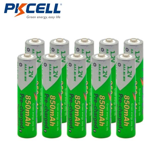 10 Pcs * PKCELL Batterij AAA Vooraf opgeladen NIMH 1.2 V 850 mAh Ni Mh 3A Oplaadbare Batterijen Cyclus 1200 keer