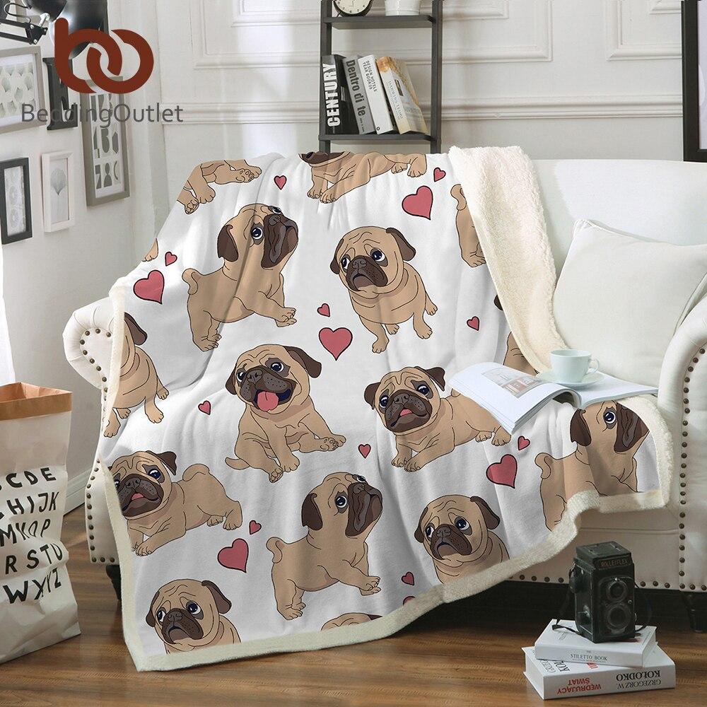 BeddingOutlet Hippie Mops Sherpa Decke auf Betten Tier Cartoon Plüsch Decke für Kinder Bettdecke Bulldog Sofa Abdeckung 1 stück