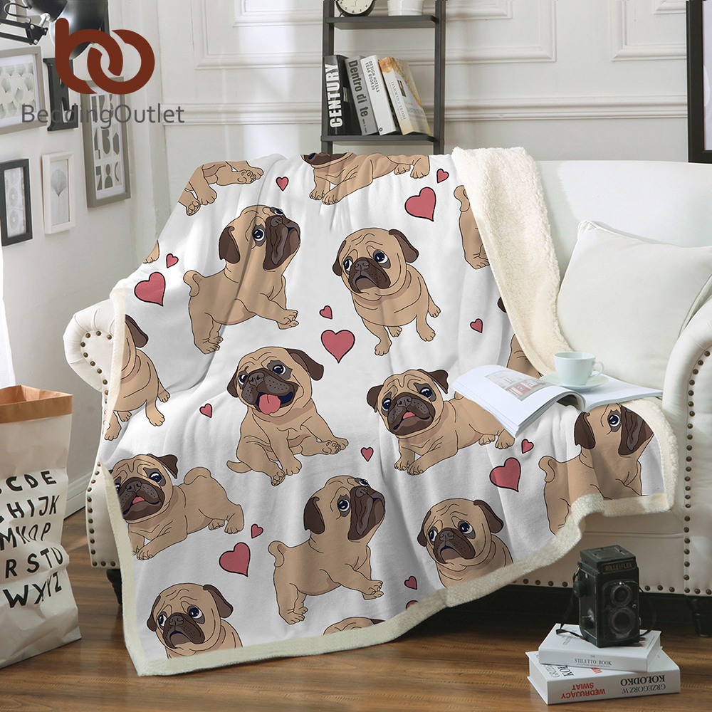 BeddingOutlet Hippie Pug Sherpa Blanket on Beds Animal Cartoon Plush Throw Blanket for Kids Bedspread Bulldog Sofa Cover 1pc