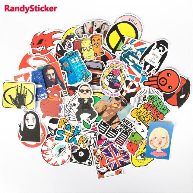 100 PCS / Pack Random music film Vinyl Skateboard Guitar Travel Case sticker toy decal Cute Stickers fashion funny sticker