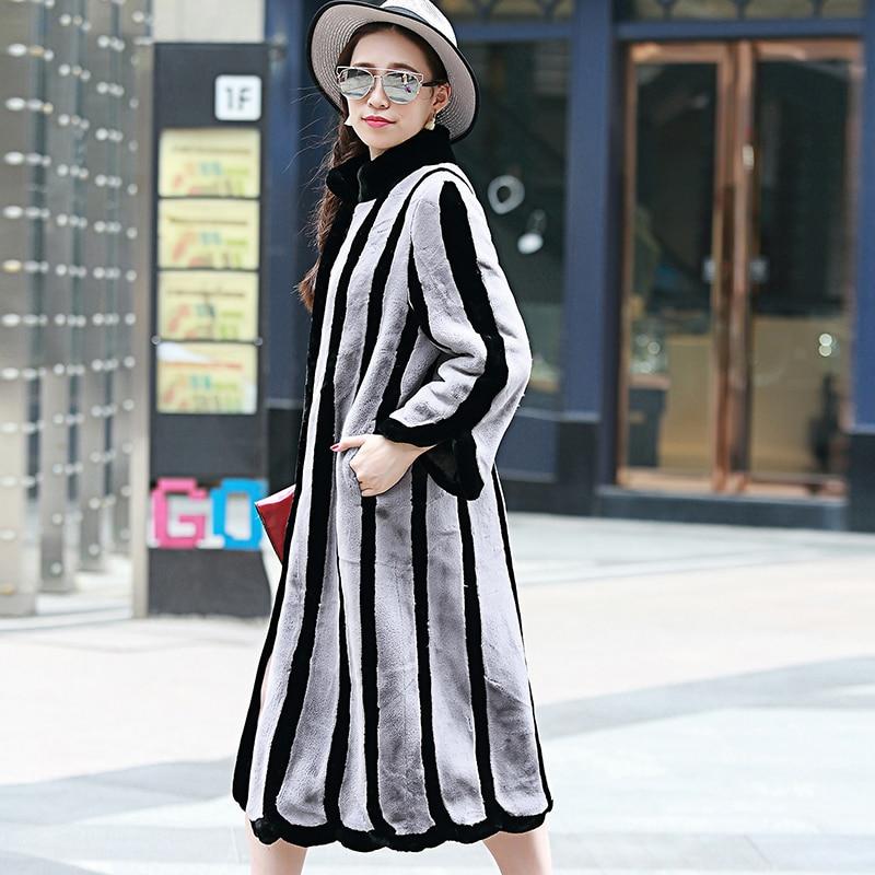 Nerazzurri talvikanin turkistakki, naisten väri lohko plus koko - Naisten vaatteet