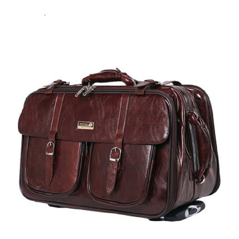 Letrend Business Travel Bag Rolling Luggage Spinner Men PU Leather Suitcase Wheels Carry On Trunk Laptop Trolley