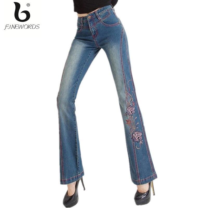 ФОТО FINEWORDS High Waist Bell Bottom Handmade Rose Pattern Women Embroidered Denim Jeans Plus Size High Stretch Boot Cut Mom Jean