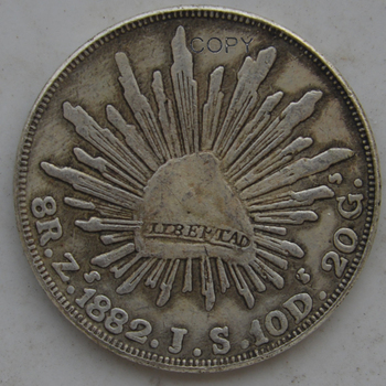 Mexico Republic 1882 Zs JS 8 Reales Eagle with snake on cactus Radiant cap with rays Brass Silver Plated Copy Coins image