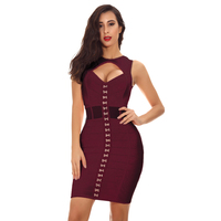 Deer Lady 2018 Dresses Vestido V Neck Mesh Bandage Dress Women Party Bodycon Wine Red Bandage