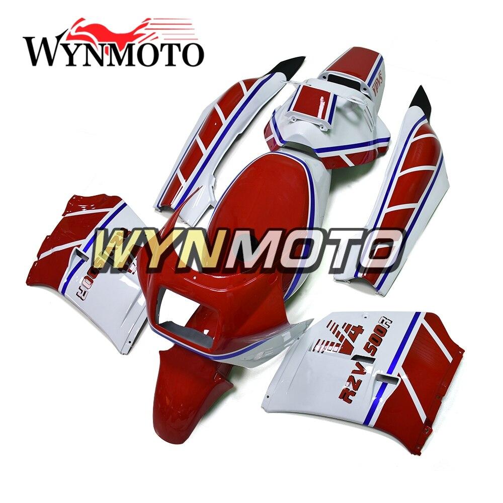 Полный ABS пластиковые Обтекатели белый красный синий в полоску новая мотоциклетная обувь Обтекатели для Yamaha rzv500 год 1985 85 кузов Новый
