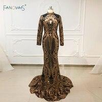 Sequin Mermaid Evening Dresses Long Sleeve High Neck Gold&Black Muslim Evening Gown Formal Party Dress Vestido de Fiesta NE71