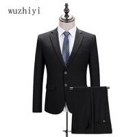 wuzhiyi trajes de hombre terno slim fit Men suit Black latest coat pant designs Custom made Two Pieces suits men 2017 New Gowns