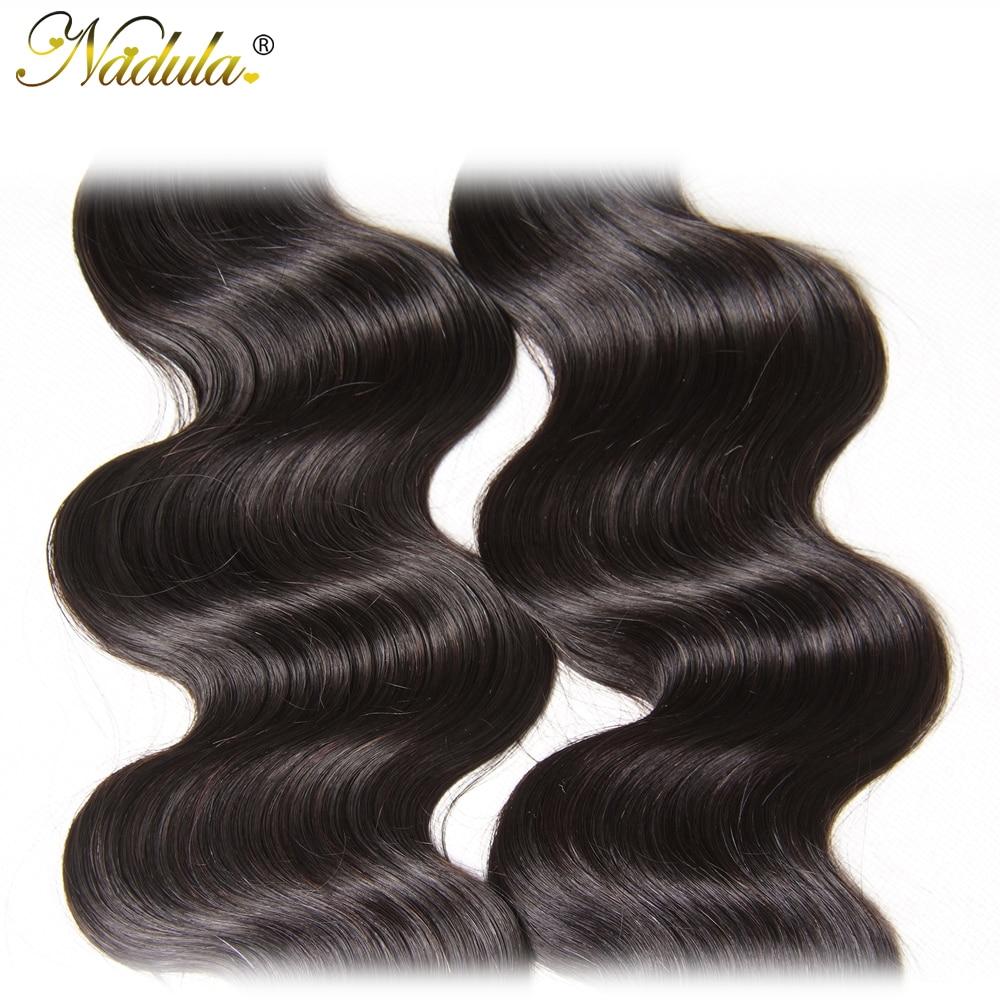 NADULA HAIR 3 / 4pcs / Lot Malayziya Bədən Dalğalı Saç - İnsan saçları (qara üçün) - Fotoqrafiya 5