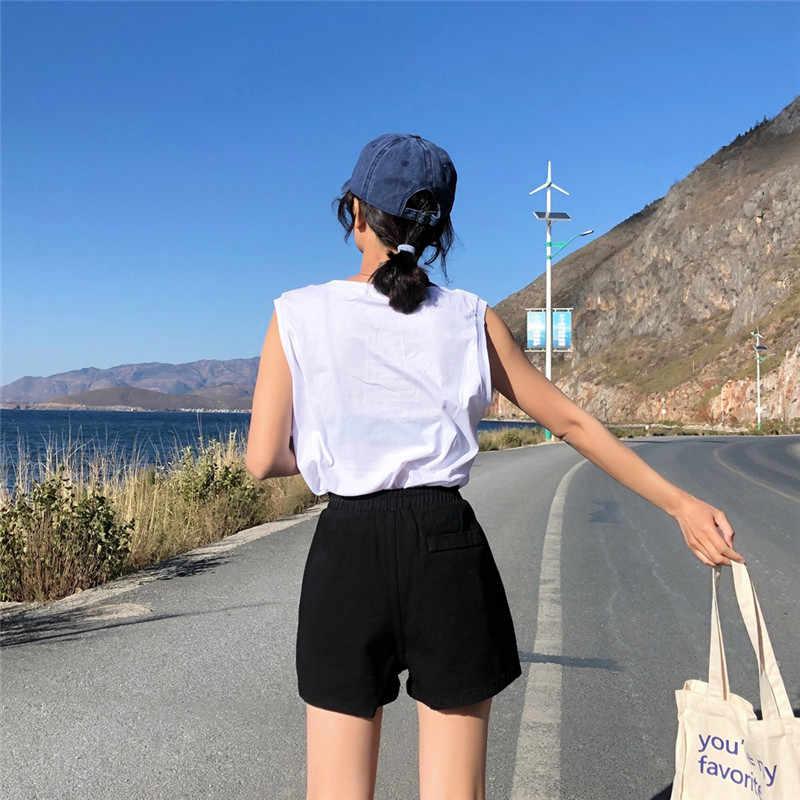Летние женские джинсовые шорты 2019 новое поступление высокая эластичная талия широкие джинсы черные синие белые розовые короткие YH105