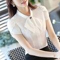 Mulheres Casuais Chiffon Blusa Feminino Manga Curta Branco Elegante Camisa Magro Encabeça Senhoras Formais OL desgaste do trabalho Moda blusas feminino