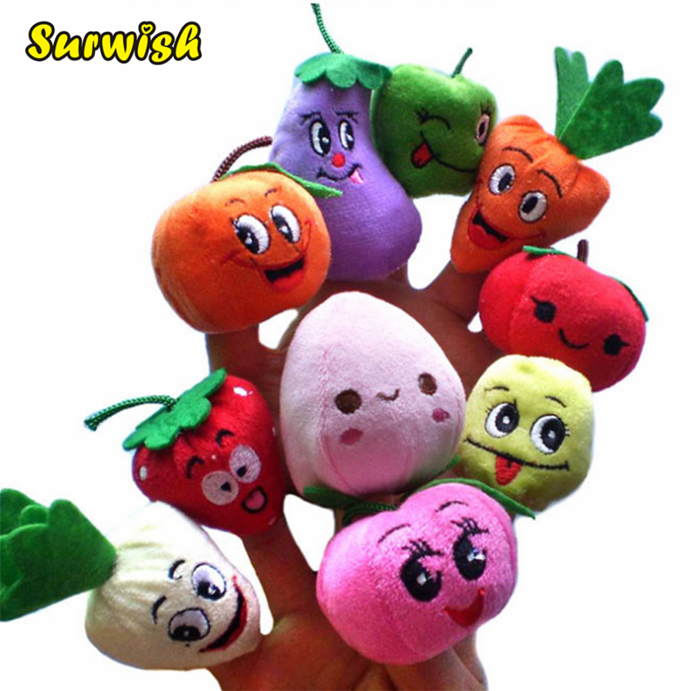 Surwish 10PCS/Set Fruit Vegetable Finger Puppets Storytelling Doll Kids Children Baby Educational Toys стоимость