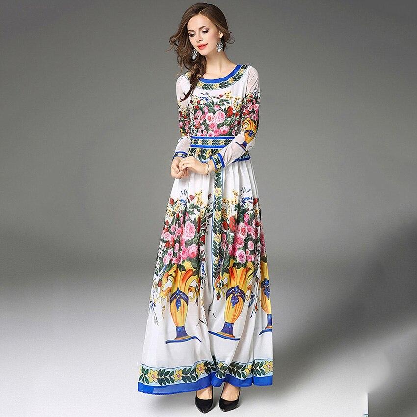 65ac0994dd Vintage floral impresión Maxi vestido largo 2017 Nuevo Otoño Invierno  mujeres estilo europeo o cuello bola vestido de noche Vestidos vestidos en  Vestidos de ...