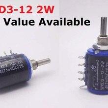 2PCS 2W WXD3-12 100R 220R 47K 3.3K 33K 22K 470R 10K 4.7K 2.2K 1K Precision multi turn potentiometer 100Ohm 220 ohm Kohm