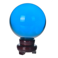 200mm Sky Blue Crystal Ball Fengshui Magic Glass Ball with wooden base Sphere Figurines Miniatures Ornaments For Gift Home Decor