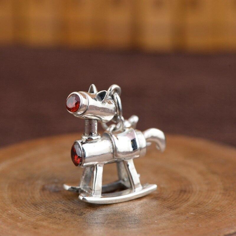 S925 silver antique process three dimensional Trojan pendant t DIY fashion pop temperament pendant