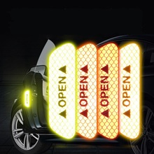 4PCS OPEN Reflective Tape Car Door Safety Warning Stickers Long-distance Anti-collision Decorative Sticker