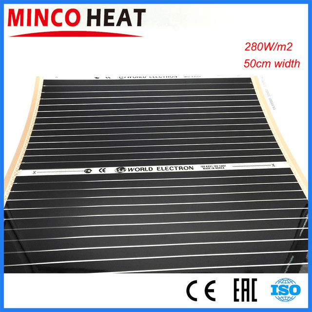 10m2 0.5 メートル幅 280 W/m2 電気遠赤外線床暖房システムカーボン加熱フィルム 220V