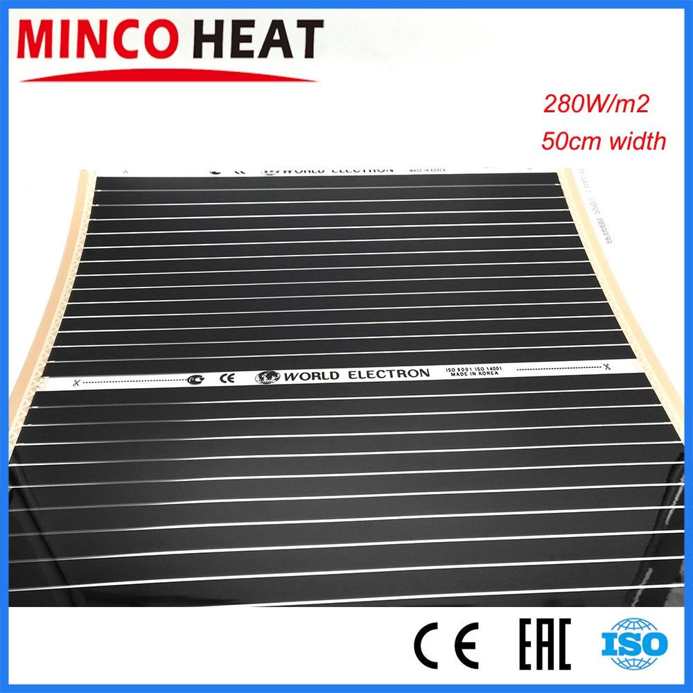 10m2 0.5M Width 280W/m2 Electrical Far Infrared Underfloor Heating System Carbon Heating Film 220Vheating vesselheat sink for computerheated ice scraper for car -