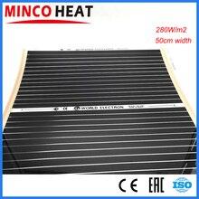 10m2 0.5M Width 280W/m2 Electrical Far Infrared Underfloor Heating System Carbon Heating Film 220V