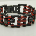 cool men/boy black & red plating red cz stone eye motorcycle bike rocky cowboy chain 316L stainless steel bracelet