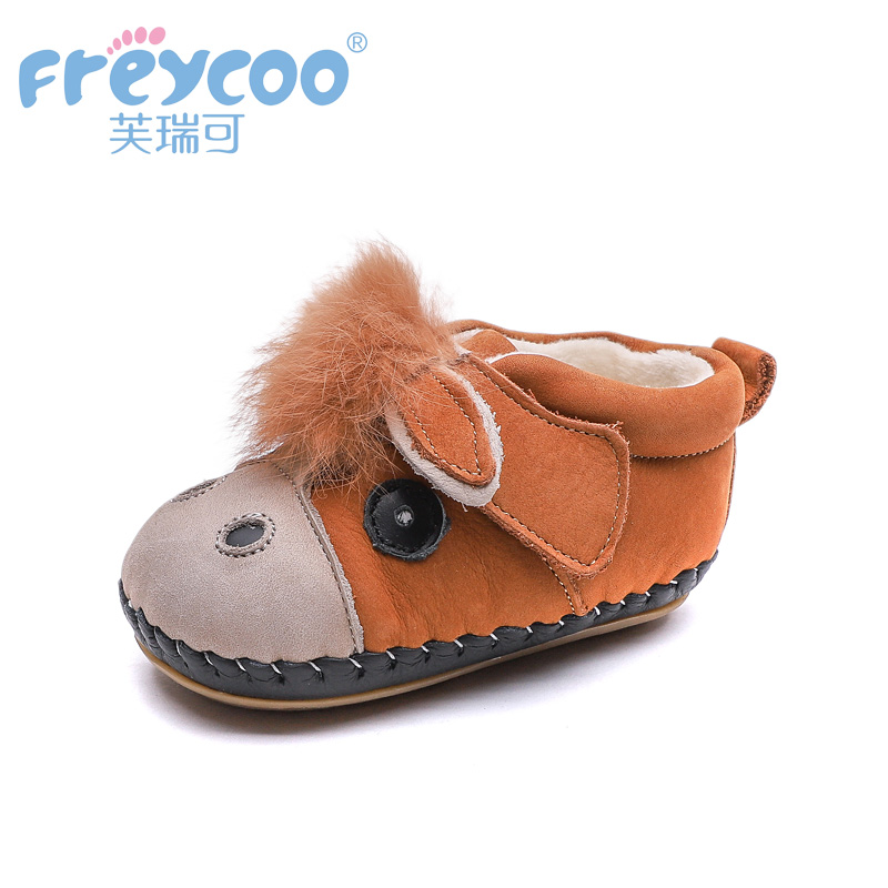 Freycoo 2019 Winter Kids Shoes Children Toddler Lovely cute Boys Girls Donkey Prints Genuine Leather Warm Cotton Shoes 1291