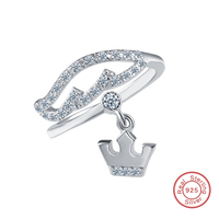 100 925 Sterling Silver Adjustable Crown Engagement Ring For Women With Clear CZ Sterling Silver Jewelry