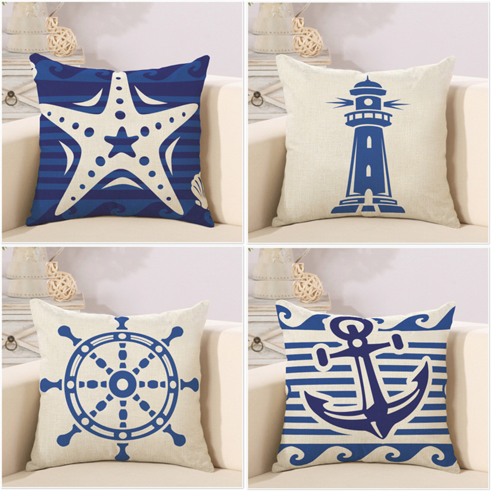 Decorative throw pillow case navigation anchor cotton linen kussen overtrek cushion cover 45x45cm for sofa home car almofadas